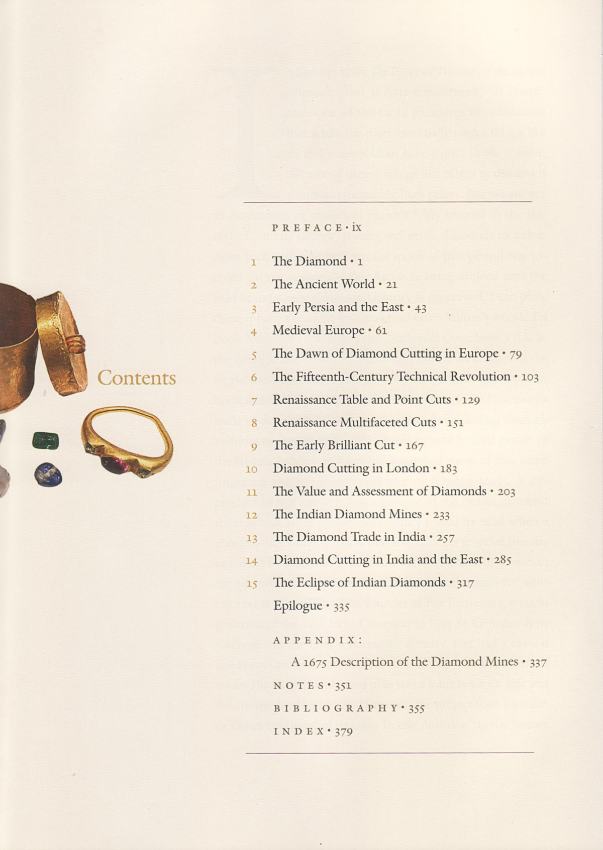 Table of Contents of Diamonds: An Early History of the King of Gems by Jack Ogden