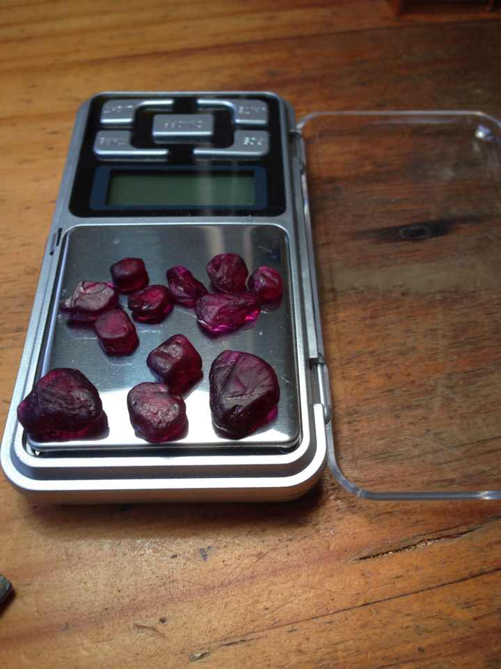 Rough ruby said to be from the new (2015) find south of Andilamena, Madagascar. Two weeks after receiving this photo from a friend, cut stones began arriving at Lotus Gemology's Bangkok office.