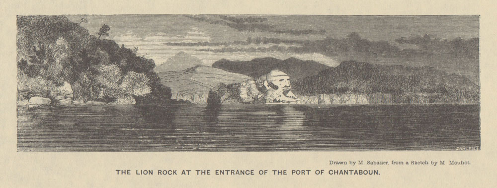 Laem Sing (Lion Rock). From Mouhot (1864) Travels in the Central Parts of Indo-China (Siam), Cambodia, and Laos, during the Years 1858, 1859, and 1860.