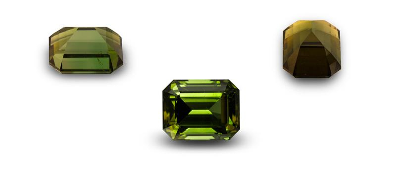 Figure 9. Pleochroism in a tourmaline cut with the c axis parallel to the table, as seen with the naked eye through the crown, side and end. Gem: Palagems.com; Photos: Wimon Manorotkul & Mia Dixon.