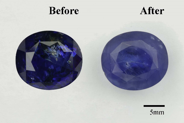 Three examples of sapphires before and after HT+P treatment.