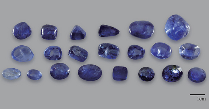 Top: Conventionally heated sapphires prior to undergoing HT+P treatment.
