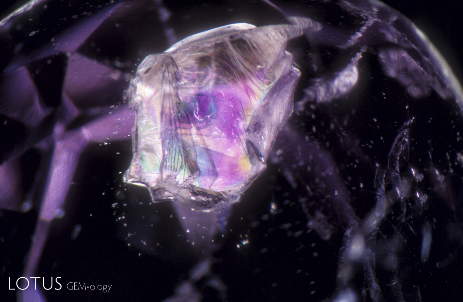 An iridescent booklet of translucent white muscovite mica resides in the interior of a mauve spinel from Sri Lanka.