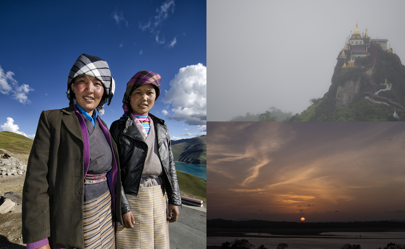 Figure 10. Natural light is not constant in spectral composition, but varies according to latitude, time of day, cloud and pollution conditions and whether or not one is using direct sunlight or skylight.  Left: Two ladies in Tibet, silhouetted against a deep blue sky. It is obvious that such skylight would enhance the appearance of blue stones. Top right: Fog in Myanmar's Mogok Stone Tract. The high moisture content gives the light a grayish cast. Bottom right: Sunset on Sri Lanka's western coast. While such sunlight could easily enhance the color of red and yellow stones, it should be noted that direct sunlight is rarely used for examining gems. Typically we use skylight, instead. Such skylight is actually more blue early and late in the day. Thus blue sapphires will look better at those times. Conversely, when viewed with skylight, rubies will look best around midday, because the skylight is less blue. Photos: R.W. Hughes