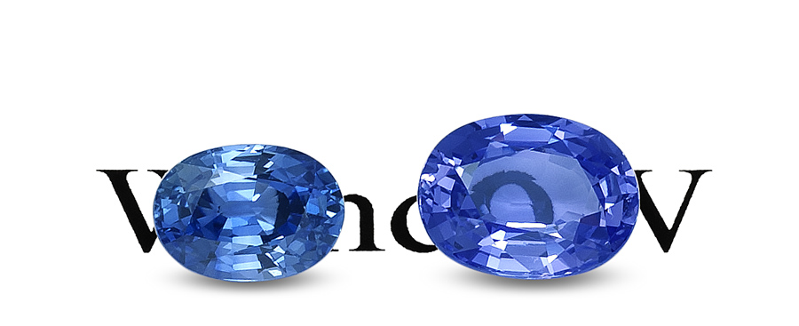 Differences between brilliant (left) and shallow (right) gems are vividly revealed above, with the stone on the right showing an obvious window. Just because a gem is shallow does not mean it is poorly cut. The job of the cutter is to return the most expensive stone possible, not necessarily the most beautiful. At times that means saving weight. The lapidary faces a constant battle between weight and beauty. Photo: Wimon Manorotkul