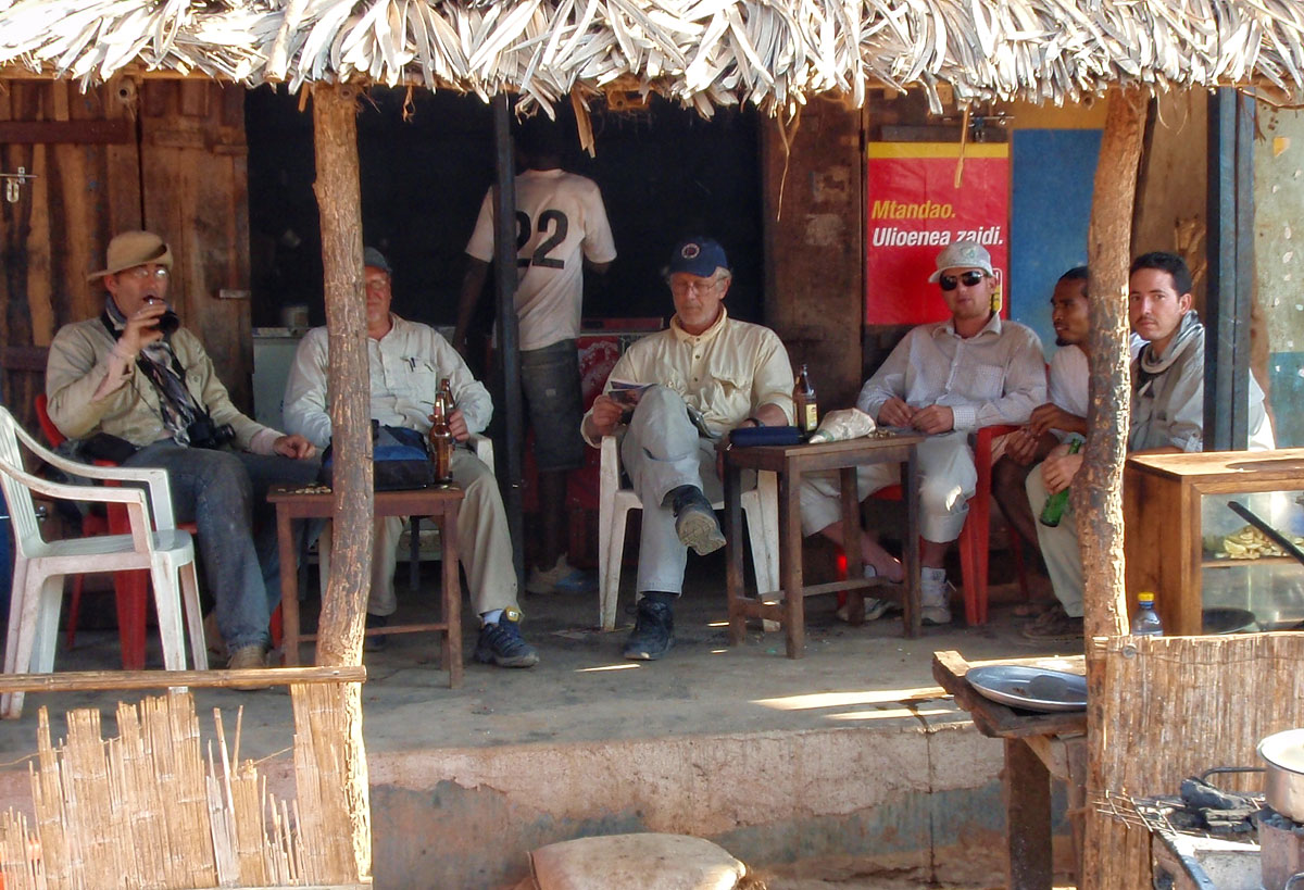 The Insane Gem Posse enjoying a few semi-cool ones in Majimaji, after a hard day beating the bush for sapphires in the Tunduru area. Left to right: Vincent Pardieu, Richard Hughes, Monty Chitty, Warne Chitty, Michael Rogers and the Franco-Mada love bunny, Sir Guji Soubiraa