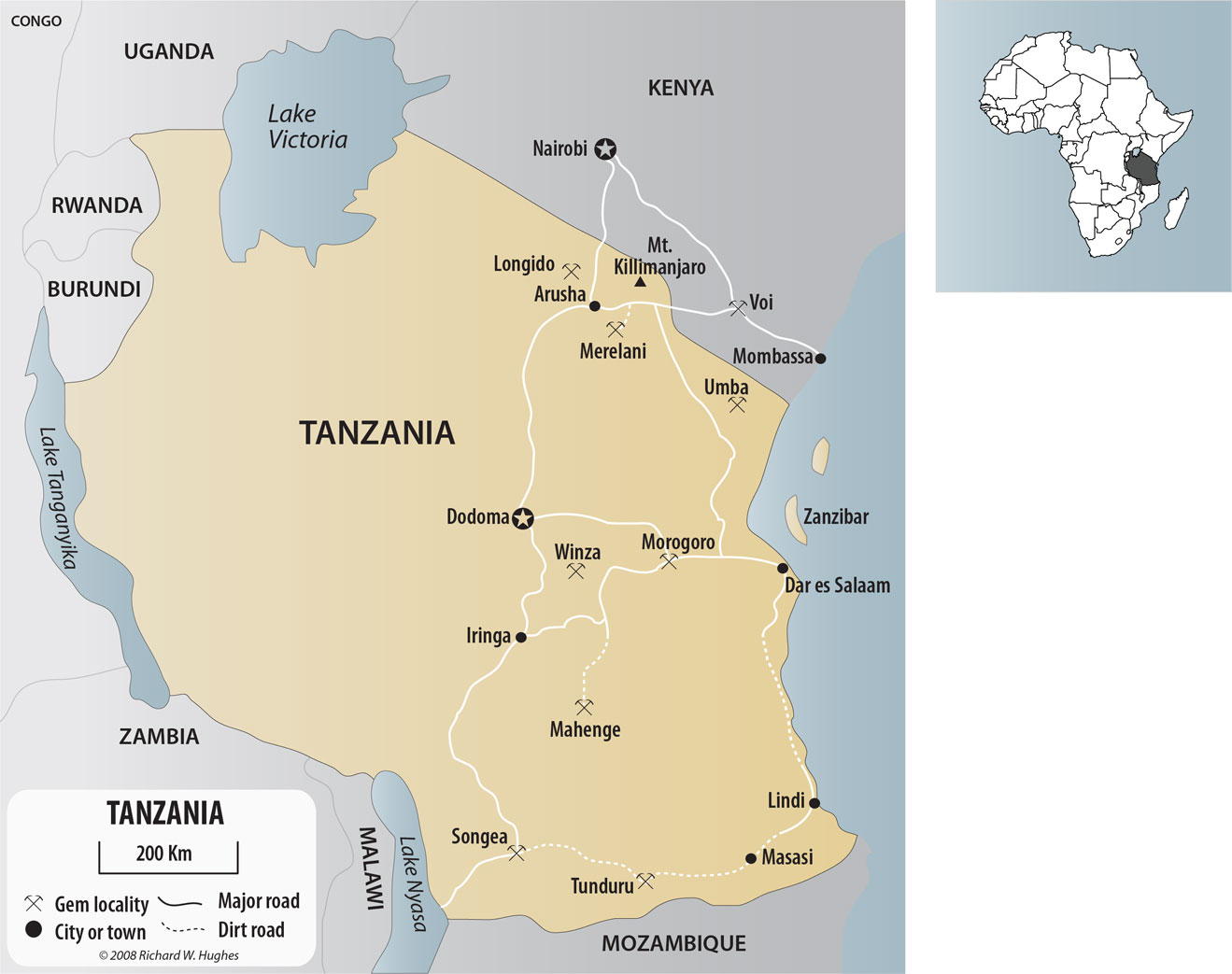 Downtown gem hunting in tanzania lotus gemology map of tanzania and southern kenya show the major gem localities click on the gumiabroncs Gallery