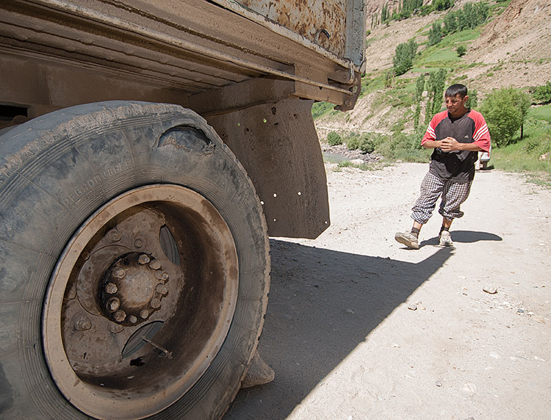Getting to the mines is sometimes arduous, as this photo taken on the road below Tajikistan's Kuh-i-Lal spinel mines shows. But the rewards of such travel cannot be overstated.