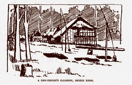 Gem digger's huts. From Smyth, 1895.