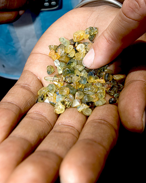 A handful of sapphire from Ambondromifehy, just south of Diego Suarez in Madagascar's far north. Photo: Richard W. Hughes