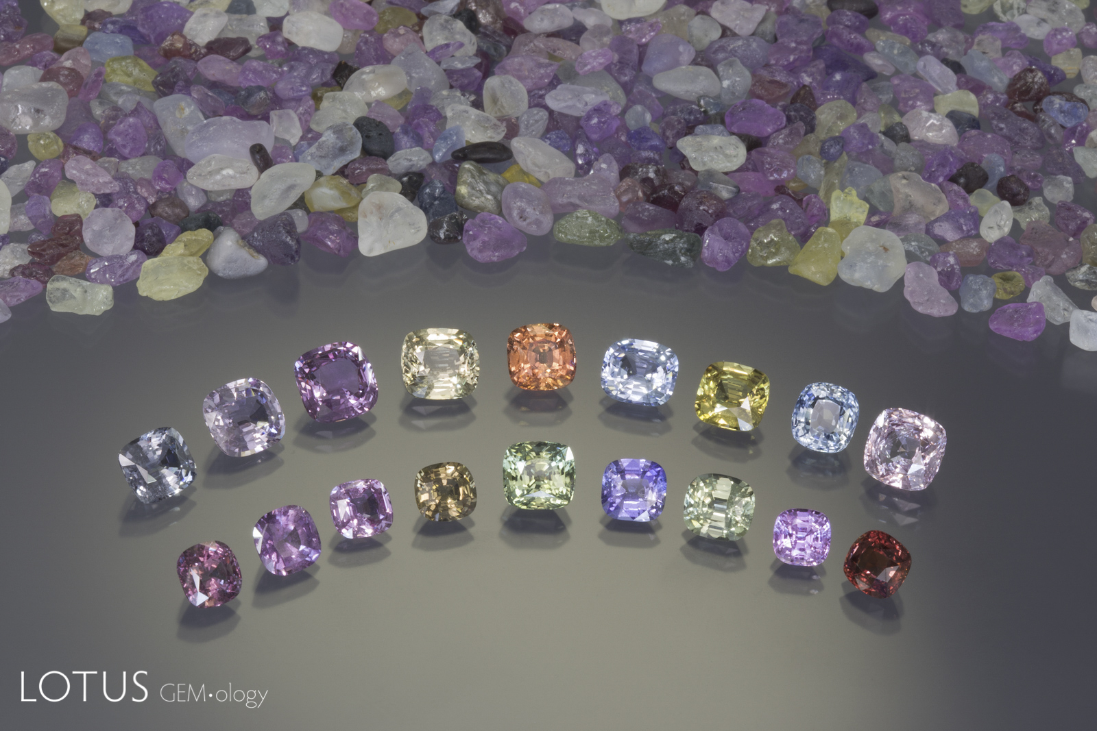 Unheated Madagascar sapphires from the Ilakaka region, ranging from 1.3–3.9 ct. Photo: Wimon Manorotkul; specimens: cut stones from Gem Fever; rough from the Lotus Gemology collection.