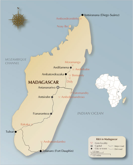 Map of Madagascar showing the major ruby and sapphire localities. The new ruby find is thought to be south of Andilamena, at Ambodivoahangy, in Zahamena National Park. Map: R.W. Hughes/Lotus Gemology. Click on the map for a larger image.
