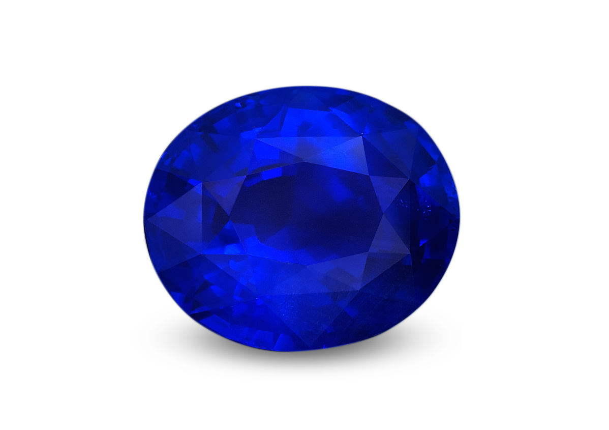 A fine royal blue sapphire from Myanmar's Mogok Stone Tract.