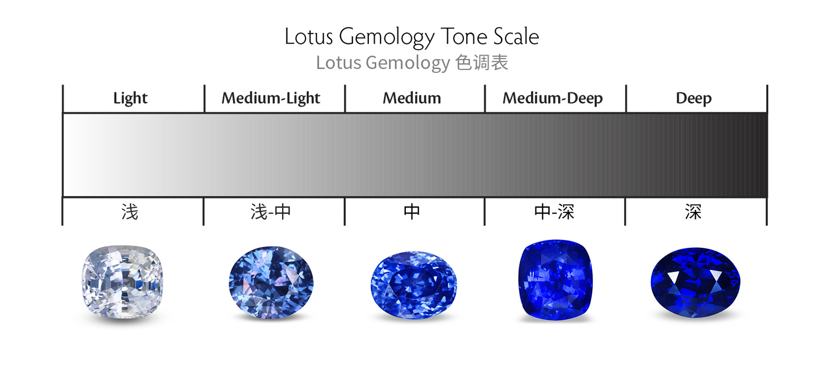 Lotus Gemology reports use a five-step tonal scale.