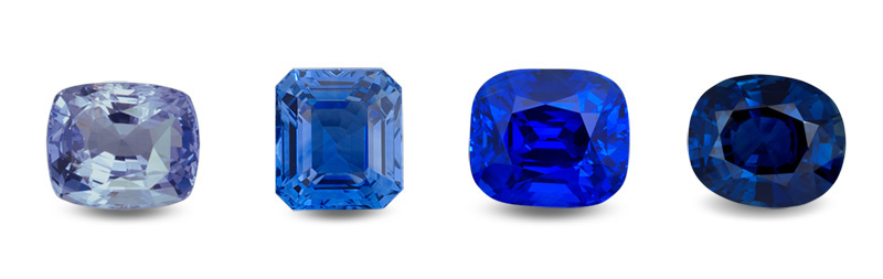 Four blue sapphires showing a variation in saturation and tone. Unlike with ruby/pink sapphire, the gem trade places all stones into the same variety, no matter what the tone/saturation range. Broad variety definitions such as this actually enhance consumer protection, because they force buyers to use their eyes, rather than looking for definitions on a gemological certificate.