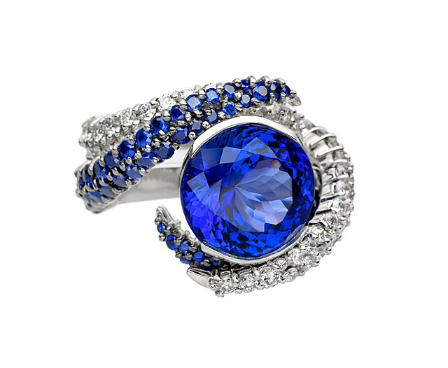 The Tanzanite Foundation, a non-profit started by TanzaniteOne, has spent great effort promoting tanzanite around the world, including sponsoring the creation of exceptional pieces designed by some of the world's finest designers. The above ring was designed by Shaun Leane. Photo: Tanzanite Foundation