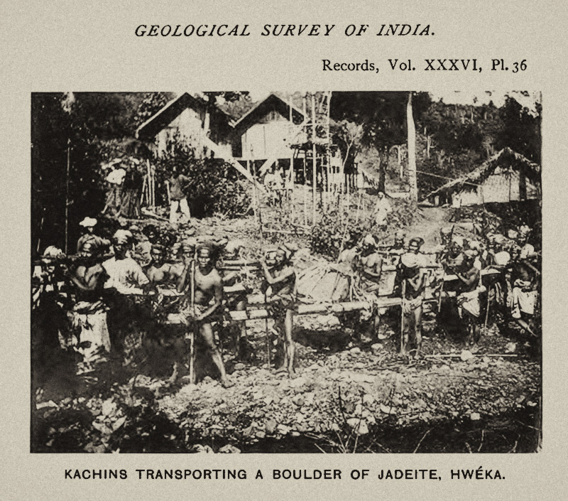 Kachins transporting a large jadeite boulder at Hweka. From Bleeck, 1908.