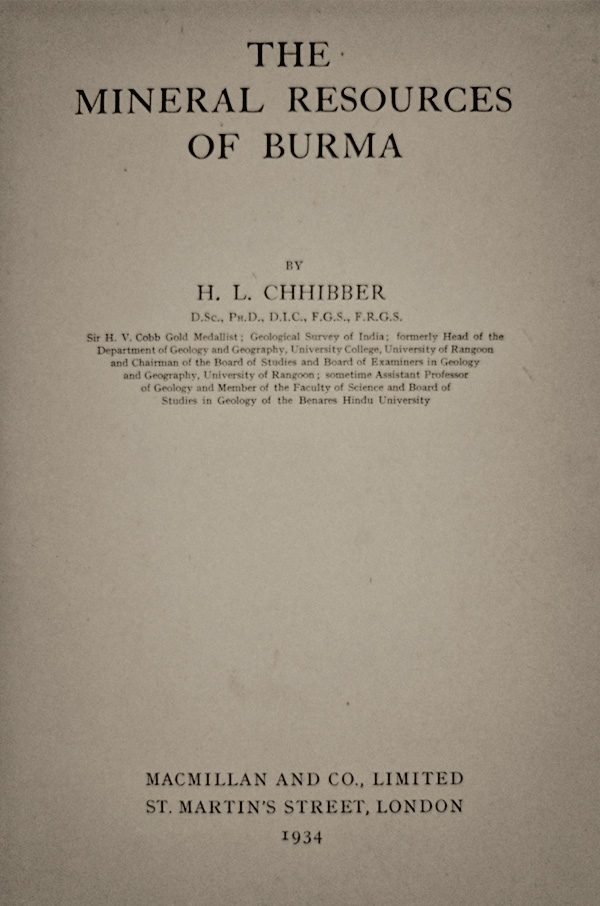 Title page to H.L. Chhibber's classic 1934 work, the most complete study of the geology of Burma's jade mines ever published.