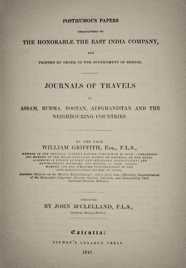 Title page of William Griffith's posthumously published Travels, which includes his account of Burma's jade mines.