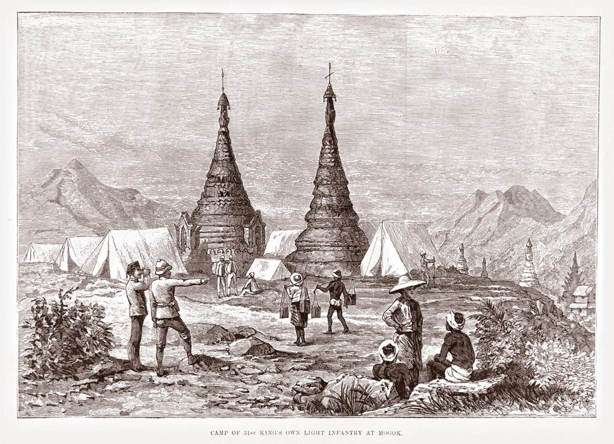 British camp at Mogok. (From the Illustrated London News, 19 Feb., 1887). Click on the image for a larger version.