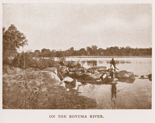 Early 20th century photo of the Ruvuma ('Rovuma') river. Despite the passage of nearly a century, little has changed. Photo from Calvert (1917); from the William Larson Collection