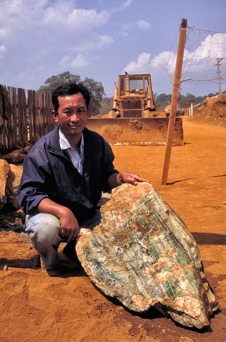 Right: A key advantage to jadeite taken from in situ deposits is that the quality of the material is readily apparent.
