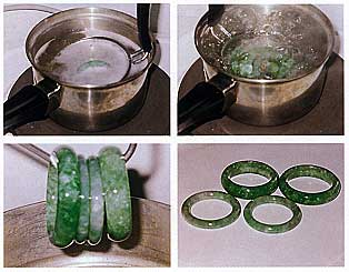 "Figure 30. A process commonly used to enhance polished jadeite, waxing (or ""wax dipping"") is actually a simple procedure. First (top left), the bangles are soaked in a warm alkaline solution about 5–10 minutes to clean the residue left behind during polishing. Next they are rinsed, dried, and then soaked in an acidic ""plum sauce"" to remove any residue from the alkaline solution. Then, they are rinsed, dried, and placed in boiling water for several minutes (top right) to open the ""pores"" in the jadeite and bring it to the right temperature (to avoid cracking) before it is placed in a pre-melted wax solution for several minutes to several hours (bottom left). After waxing, the items are polished with a clean cloth to reveal their best luster (bottom right). Photos and description by Benjamin So."