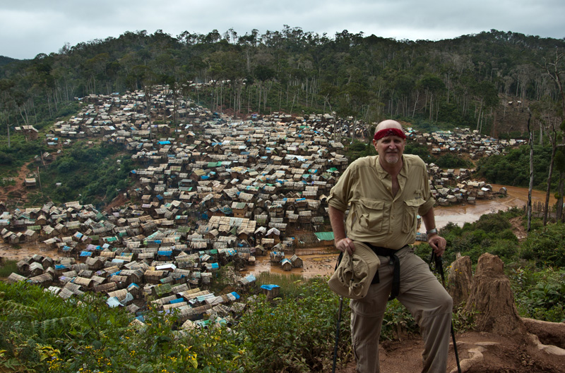 The author above the village of Moramanga, where 15,000 people claw rubies from the bush. Photo: Richard W. Hughes