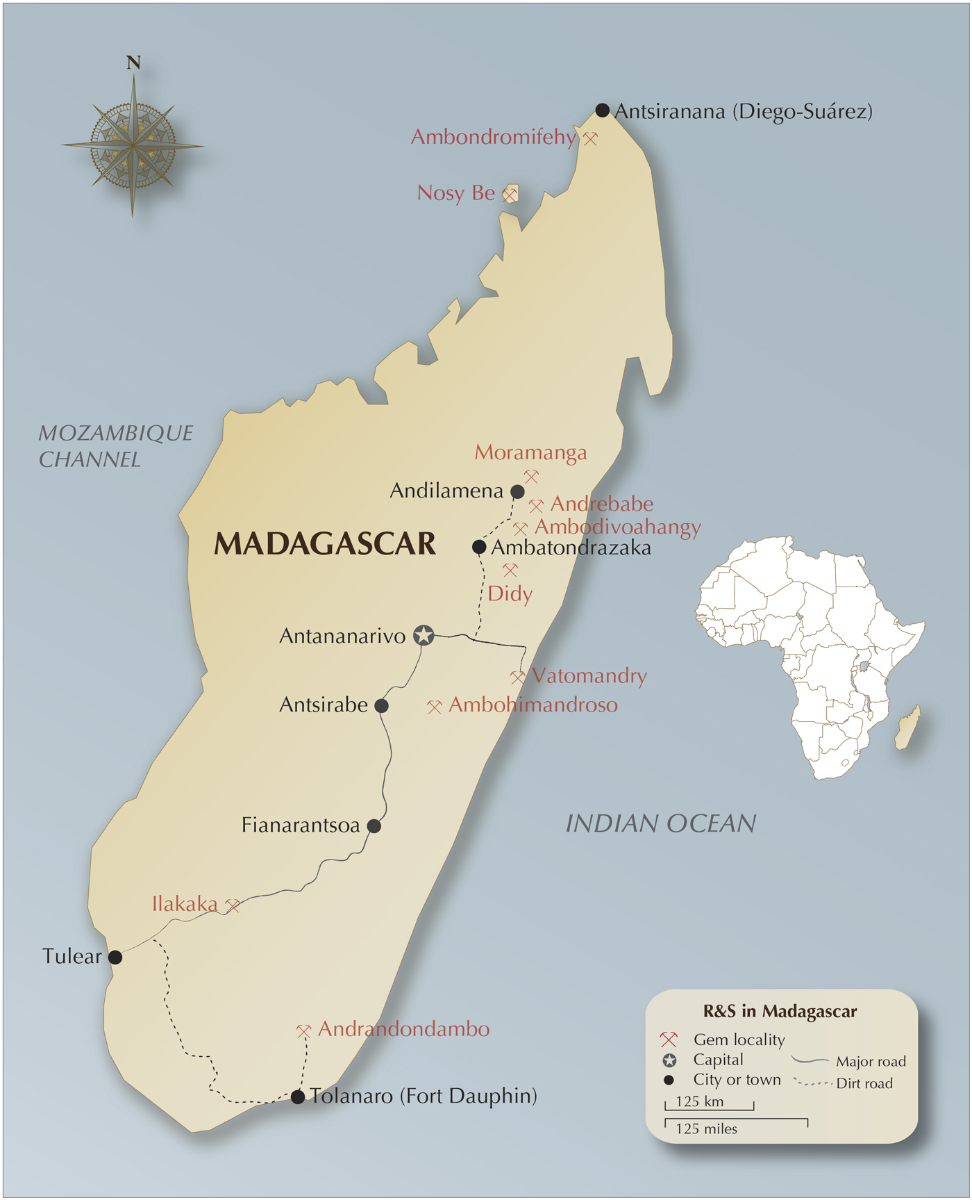 Map of Madagascar, showing the island's most important corundum localities, along with the author's route.  Map: Richard W. Hughes