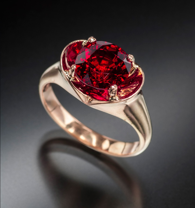 The Crimson Prince is a 3.32 ct Mogok ruby that displays the quintessential pigeon's blood color. As you can see from the previous photos, the finest Mozambique rubies can have colors quite similar to Burma's finest. Photo: Jeff Scovil. Gem: Jeffrey Bergman