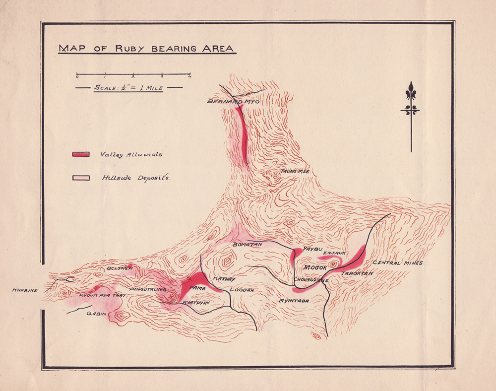 Rare map of Myanmar's Mogok Stone Tract. From The Burma Ruby Mines by Atlay & Morgan (1905)