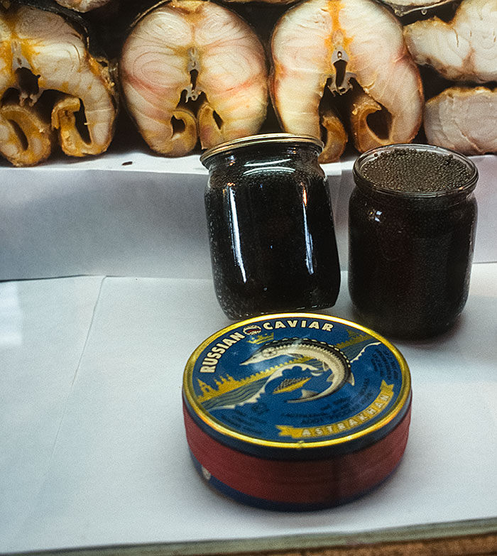 "Product of Russia. At the time of writing (2000), a 500-gram jar of beluga ""black"" caviar such as that shown cost about $150. Today (2014) it is completely banned to protect the sturgeon, from which it comes.  Photo: © Richard W. Hughes"